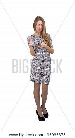 Happy smiling business lady with ok hand sign