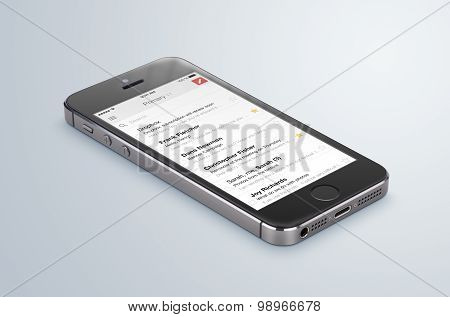 Google Gmail App Logo On The Black Apple Iphone 5S Display That Lies On The Surface