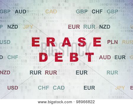 Finance concept: Erase Debt on Digital Paper background