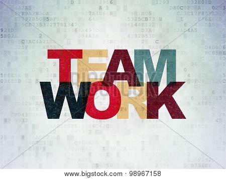Business concept: Teamwork on Digital Paper background