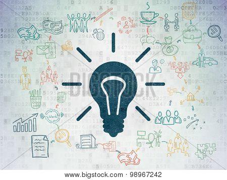Finance concept: Light Bulb on Digital Paper background