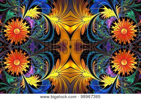 Flower Pattern In Fractal Design. Yellow And Blue Palette. On Black. Computer  Graphics.