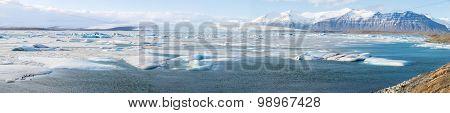 Panorama of vatnajokull Glacier Jokulsarlon lagoon Iceland