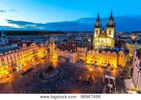 Old Town Square at dusk  Prague, Czech republic