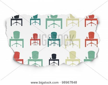 Finance concept: Office icons on Torn Paper background