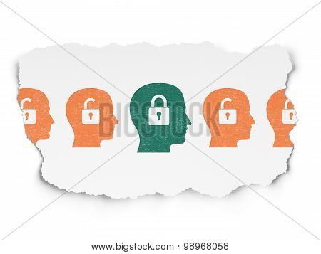 Business concept: head with padlock icon on Torn Paper background