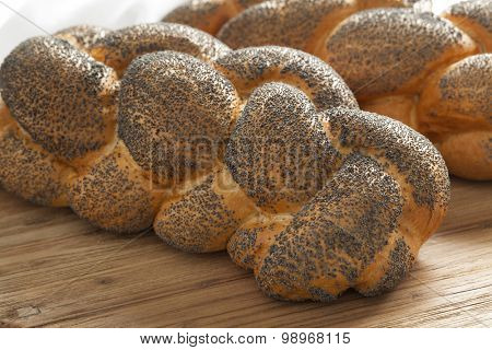 Two whole fresh Challah breads with poppy seeds