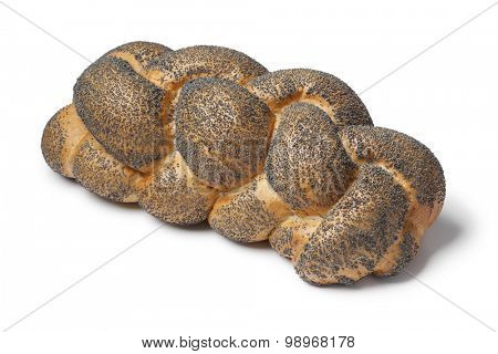 Whole fresh Challah bread with poppy seeds on white background