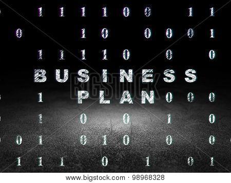 Business concept: Business Plan in grunge dark room