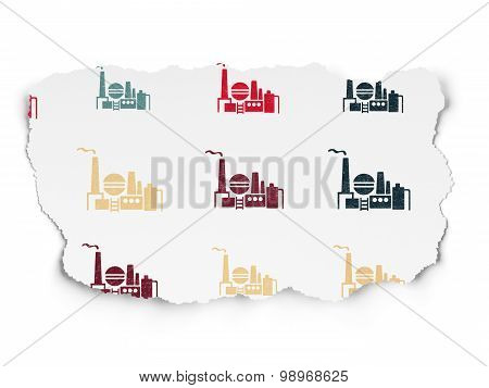 Finance concept: Oil And Gas Indusry icons on Torn Paper background