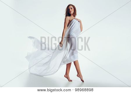 Sensual Woman Wrapped In Transparent Cloth