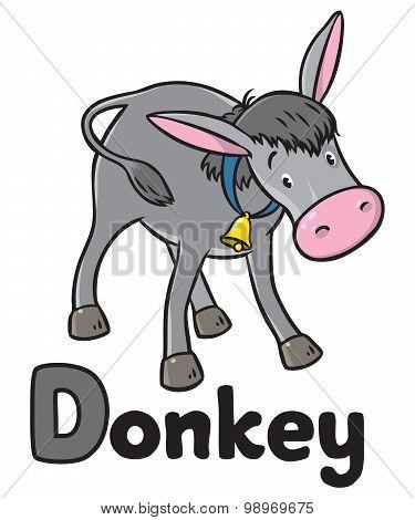 Funny gray donkey. Alphabet D