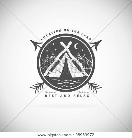 Camping  retro vector logo