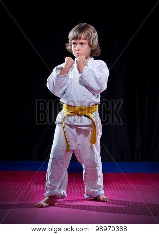 Little boy aikido fighter on black