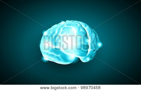 Science image with human brain on green background