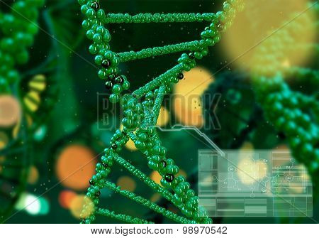 Biochemistry concept with digital green DNA molecule