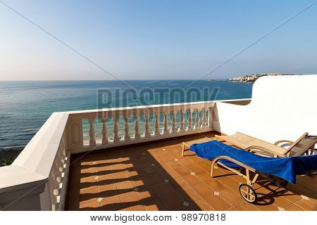 Panorama of the Gulf of the Mediterranean Sea from the balcony