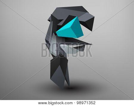 3D Prism Font - F