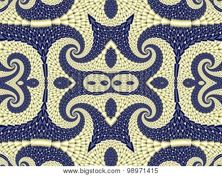 Symmetrical Textured Background With Spirals. Gray And Blue Palette. Computer  Graphics.
