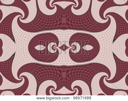 Symmetrical Textured Background With Spirals. Pink And Vinous Palette. Computer Graphics.