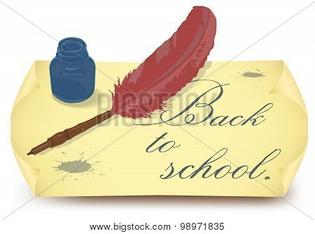 Back to school, design template with feather in ink bottle and old paper
