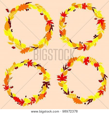Autumnal leaves wreaths or frames