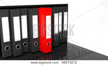 One red office folders among black ones with blank labels on laptop screen