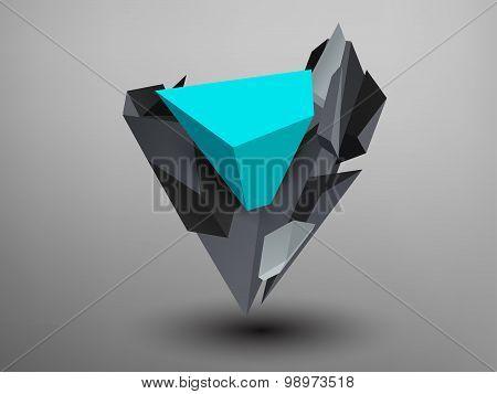 3D Prism Font - V