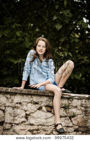 Moving Into Adulthood. Outdoor Portrait Of Teenage Girl.