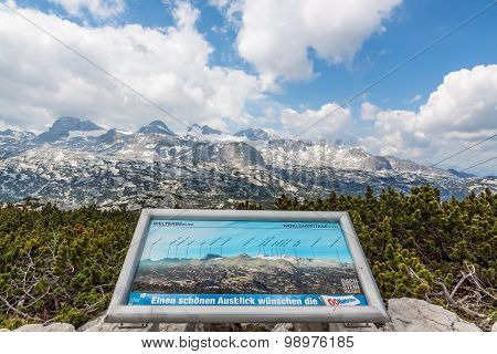 Dachstein Mountains With Info Sign