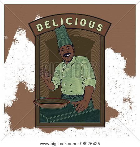 Vector Vintage Illustration Template Of A Chef Serves The Best Menu On Plate / Bowl