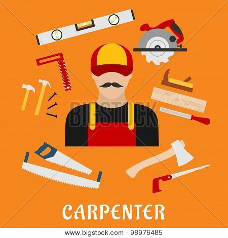 Carpenter and his toolbox tools