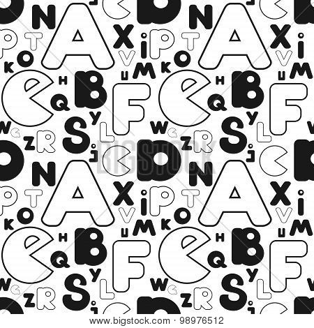 repeating alphabet pattern black and white