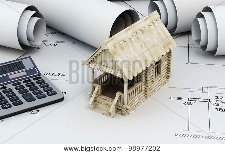Drawings For Building And Small Wooden House With Calculator