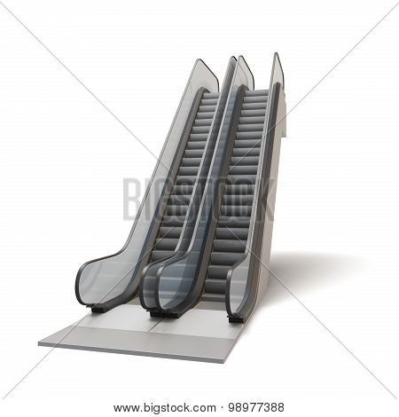 Escalator Isolated On White Background.