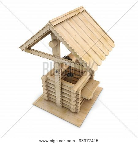 Wooden Draw-well On A White
