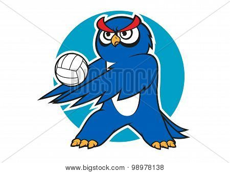 Cartoon blue owl volleyball player