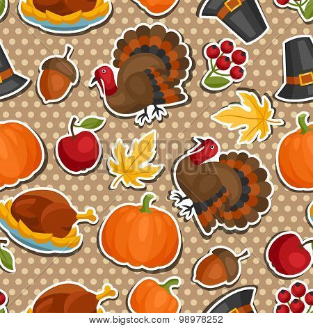 Happy Thanksgiving Day seamless pattern with holiday sticker objects