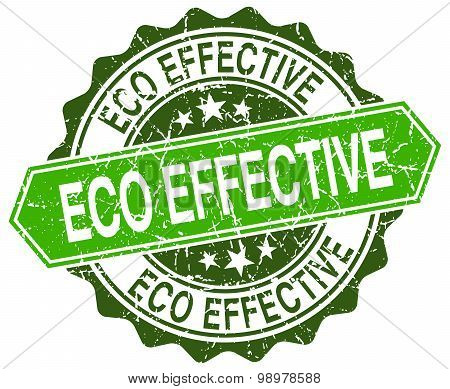 Eco Effective Green Round Retro Style Grunge Seal