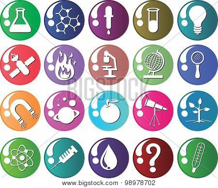Set Science Icon Vector Colorfull