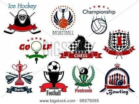 Sport and leisure icons or symbols