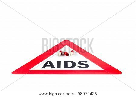 Stop Aids And Hiv, Capsule With Warning Sign