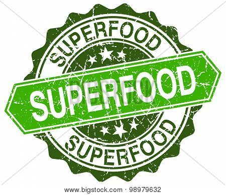 Superfood Green Round Retro Style Grunge Seal
