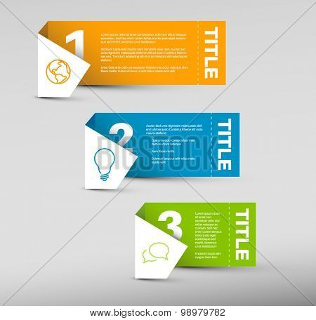 Vector Paper Progress background / product choice or versions - orange, blue and green vertical version