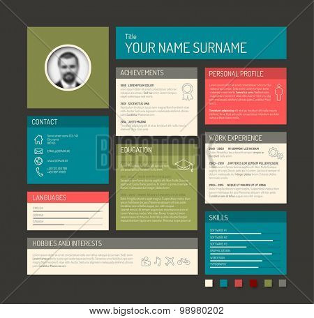 Vector minimalist cv / resume template dashboard profile - dark version with retro colors