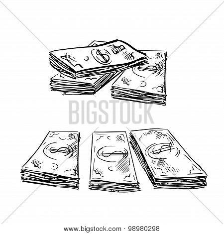 Sketch of dollar bills stacks