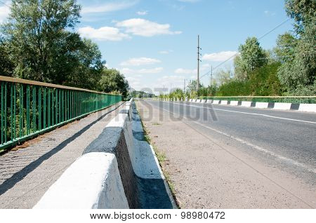 Road, Fence, Marking, Trees And Blue Sky