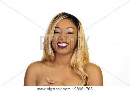 Smiling Bare Shoulder Portrait Young Black Woman