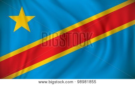 Flag of Democratic Republic of the Congo - vector illustration