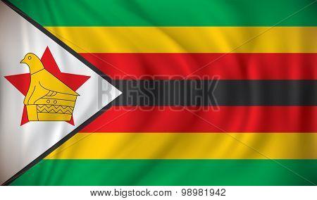 Flag of Zimbabwe - vector illustration